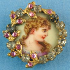 Porcelain & rhinestone antique button.