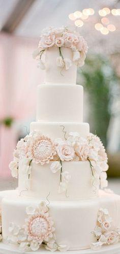 Oh what a cake. Blush pink floral blooms. Wedding Cake