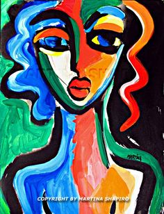 Abstract Girl, original acrylic painting on paper by artist Martina Shapiro, abstract female nude