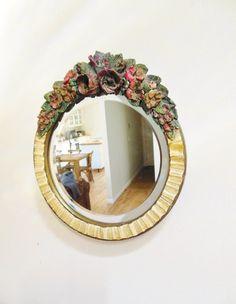 Antique Floral Barbola Mirror 1920s Valentine от FreewheelFinds, $195.00