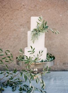 It takes a bold couple to choose a plain white wedding cake but I do love the minimalist look and the fabulous foliage decor. Makeupartist and hairstylist for fineart and destinationbrides http://www.patriciasoper.com