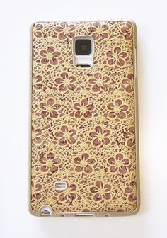 Unique Designer phone accessories For Samsung Galaxy Note Edge Gold Vintage Flower Floral Print Hand painted wood cork DIY TPU Hard Case Cover handmade by Yunikuna