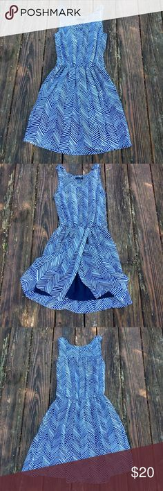 Blue & white stripe lightweight dress Great lightweight dress with wrap style skirt. Great condition! The top is not lined- it is semi opaque, and has braided straps (pic.4). There is an elastic waist, the skirt is lined & has pockets! Aqua Dresses Midi
