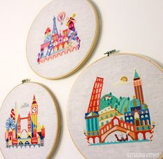 It's a Small World - Mary Blair inspired cross stitch patterns by Satsuma Street