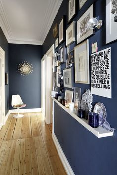 dark color in the hallway with white trim?