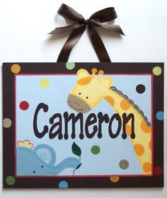 jungle Animals name sign wall art handpainted by sweetartboutique, $40.00