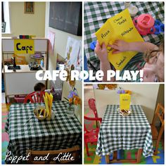 Poppet and Little: Cafe Role Play! Cafe Role Play Area, Role Play Areas Eyfs, Nursery Activities, Preschool Activities, Home Corner Ideas Early Years, Kids Role Play, Pretend Play, Katie Morag, Fantasy Play