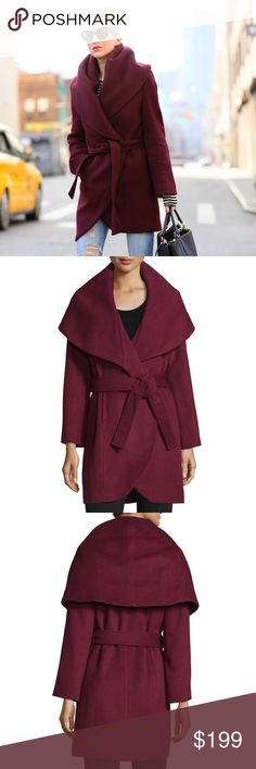 T Tahari • Marla Wrap Coat Red Essentially new! Barely worn. Classic wrap coat by T Tahari in color Apple red. Keeps you feeling cozy and looking fabulous. Cover photo from Brooklyn blonde.com   •36 inch length •Front on-seam pockets •Fully lined •60% wool, 25% polyester, 10% viscose, 5% other fibers  •Dry clean T Tahari Jackets & Coats Pea Coats