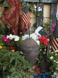 Prim Garden...beeskep, wooden lamb, flags & flowers...Sold Offerings - Fanatic's Country Attic.