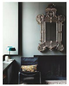 easy chair by Poul Kjærholm from Fritz Hansen Living Room Inspiration, Interior Inspiration, Small Luxury Hotels, Georgian Homes, Dark Interiors, Farmhouse Interior, Mid Century Modern Furniture, Interior Styling, Interior Design