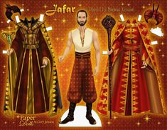 looks gloriously wicked as Jafar in so I had to make a paper doll of his lavish costumes! Cant wait to see… Jafar Costume, Aladdin Costume, Paper Doll Costume, Disney Paper Dolls, Robin, Aladdin Movie, Storybook Characters, Fairytale Fashion, Disney Aesthetic