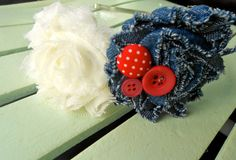 Ivory and Denim Rosette Headband by LittleMissLovelyGal on Etsy, $10.50