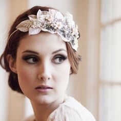 Blush pink vintage rhinestone bridal cap headdress by Victoria Mary Vintage with photography by Hannah Mia Photography
