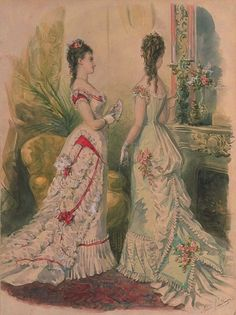 La Mode Illustrée, 1877 - so beautiful and elegant looking Victorian Era Dresses, Victorian Gown, Victorian Design, 1870s Fashion, Edwardian Fashion, Vintage Fashion, Historical Costume, Historical Clothing, Historical Dress