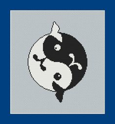 Black and White Yin Yang Whales Counted by InstantCrossStitch