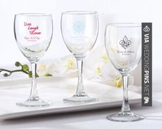 Awesome - Personalized Wine Glass 8.5 oz  Here's to a vintage celebration! Feel free to swirl your favorite wine, fill with your favorite candy, or place a tea light inside to make your tables simply glow. An elegant look at a reasonable price. Personalized with your choice of design, your names and wedding date are the signature of elegance on this distinctive, and practical, wedding favor. | CHECK OUT MORE GREAT REHEARSAL DINNER PICS AND IDEAS AT WEDDINGPINS.NET | #weddin
