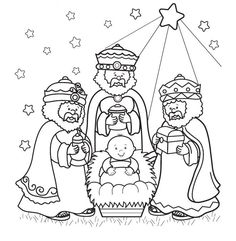 wisemen - could superimpose a toddler boy instead of the baby in the manager and create a good colouring pic from this