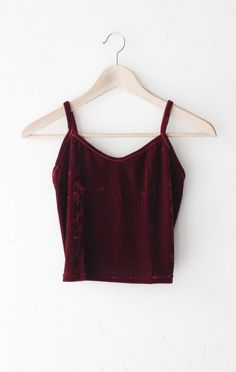 """- Description Details: Velvet cami crop top in burgundy with v-neck front and straight back. Form-fitting, tend to run on the smaller side & are more fitted. Measurements (Size Guide): S: 26"""" bust, 15"""