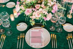 La Tavola Fine Linen Rental: Velvet Emerald with Olivia Blush Napkins | Photography: Brett Hickman Photography, Production & Catering: 24 Carrots, Floral Design: Oak and the Owl, Furniture: Found Rentals, Tabletop: Borrowed Blu, Venue: Franciscan Gardens, Calligraphy: Project Watermark