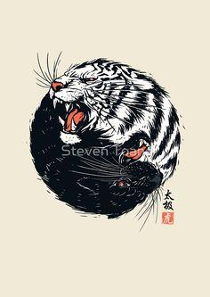 tiger art - Taichi Tiger by Steven Toang metal posters Japanese Tattoo Art, Japanese Tattoo Designs, Japanese Art, Japanese Prints, Japanese Sleeve, Tiger Illustration, Tiger Drawing, Poster Prints, Art Prints