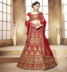 Red Color Half Art Raw Silk & Half Net Designer Lehenga For Wedding : Vivah Collection  YF-37071