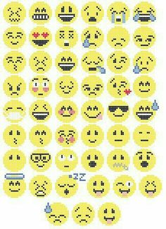 51 emoji cross stitch or perler/hama bead patterns. Patterns are approx 20 by 20 stitches/beads. Perler Bead Designs, Hama Beads Design, Pearler Bead Patterns, Perler Patterns, Emoji Patterns, Loom Patterns, Knitting Patterns, Crochet Patterns, Perler Bead Emoji