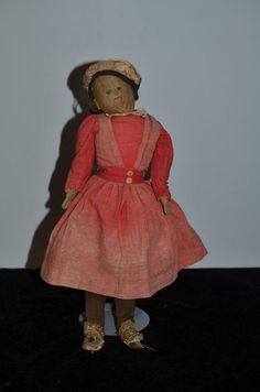 Old Cloth Doll Rad Doll Primitive Folk Art Old Clothing Black Cloth Doll