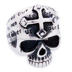 Stainless Steel Cross Head Carved Words Skull Men Biker Ring