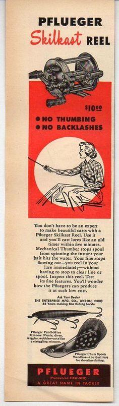 1950 Vintage Ad Pflueger Skilkast Fishing Reels Pal-O-Mine & Chum Spoon Lures #Paper