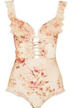 c42255deaf ZIMMERMANN attractive Corsair ruffled floral-print point d esprit-trimmed  halterneck swimsuit