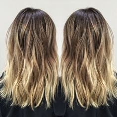Medium lob with ombre-ish balayage highlights