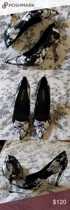 Guess black and white pumps Fancy and fashionable pumps worn once Guess Shoes Heels