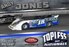 Topless Nationals Andy Jones #speedshopnorth #jdi #andyjones #t18 #racing #latemodel #dirt #track #ogilvieraceway #wissota #nascar #car Late Model Racing, Dirt Track, Nascar, Race Cars, Drag Race Cars, Rally Car