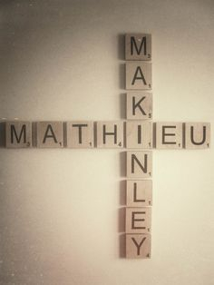 Large Scrabble Letters. I would love to use all four of our names on a big blank wall we have in our house.