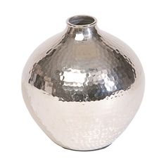 <p>This elegant, petite brass vase has been hand-hammered to give it a slightly imperfect texture. The globular shape and skinny mouth gives it a fresh and modern look, in a mirrored polished nickel f