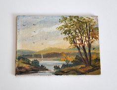 Vintage Miniature Landscape Oil Painting, Fall Landscape Oil Painting