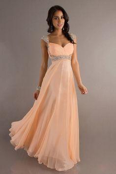 A-Linie V-Ausschnitt Bodenlang Chiffon Kleid - $134.99