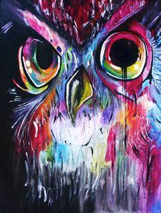 painting Rainbow Owl Painting