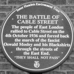 The Battle of Cable Street Wall Plaque