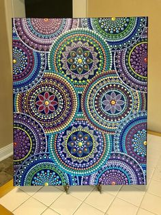 This is a beautiful large (approximately cm) canvas. I love the vibrant colors and the patterns of the mandalas on this canvas with a touch of gold and copper paints! It's like their dancing happily around the canvas. I'm calling it t Mandala Canvas, Mandala Artwork, Mandala Dots, Mandala Painting, Mandala Pattern, Aboriginal Dot Painting, Dot Art Painting, Mandala Art Lesson, Mandala Drawing
