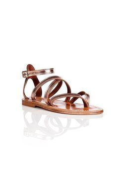 Metallic Leather Epicure Sandals | K.Jacques