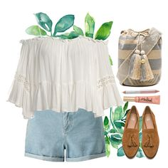 """At the sea"" by tubamirum ❤ liked on Polyvore featuring Miss Selfridge, Guanábana, Sans Souci, Joe's Jeans, Jane Iredale and Too Faced Cosmetics"