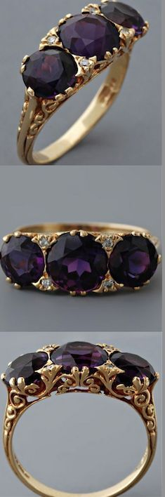 awesome Antique Victorian Amethyst Ring, English, 18 Karat. www.annabelchaffe......