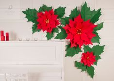 New vision of traditional Christmas decoration, poinsettia, made in a fashionable manner as large paper flowers. Hung on the wall this elegant set will bring holiday cheers to your place. The really giant size of the flowers will add delight and surprise to your home atmosphere. Christmas