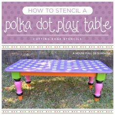 Cutting Edge Stencils shares how to stencil a Polka Dot play table. http://www.cuttingedgestencils.com/polka-dots-stencils-nursery.html
