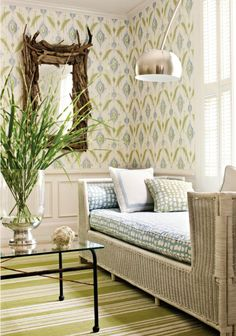Bright, greens and blues, wainscoting, with rustic chunky tree branch mirror