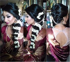 South Indian bride. Temple jewelry.Jhumkis.Maroon Silk kanchipuram sari.Loose side braid with fresh flowers. Tamil bride. Telugu bride. Kannada bride. Hindu bride. Malayalee bride