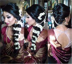 South Indian bride. Temple jewelry.Jhumkis.Maroon Silk kanchipuram sari.Loose side braid with fresh flowers. Tamil bride. Telugu bride. Kannada bride. Hindu bride. Malayalee bride