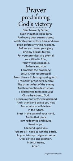proclaiming God's victory Thank and praise God for the victories in your life - even before they happen.Thank and praise God for the victories in your life - even before they happen. Prayer Times, Bible Prayers, Faith Prayer, God Prayer, Power Of Prayer, Prayer Quotes, Prayer Scriptures, Spiritual Quotes, Bible Quotes