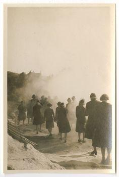 [Army nurses at thermal region in Rotorua, New Zealand, :: Women Veterans Historical Project Vintage Nurse, Vintage Medical, Garrison Cap, Flight Nurse, Nursing Degree, High School Art, South Pacific, Us Army, World War Ii